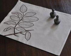 Rama manteles lino Set de 4, avena hoja marrón oscuro lino, bordados sábanas, mantelería, manteles de tela, comedor textil