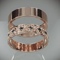 Rose Gold Celtic Flower Wedding Rings Set with Diamonds His and Hers Rose Gold Celtic f 14 K Rose Gold keltische Blume Hochzeit Ringe Set mit Etsy Wedding Rings Rose Gold, Gold Rings, Gold Wedding, Bridal Rings, Trendy Wedding, Gold Gold, Gold Set, 14 Carat, Wedding Band Sets
