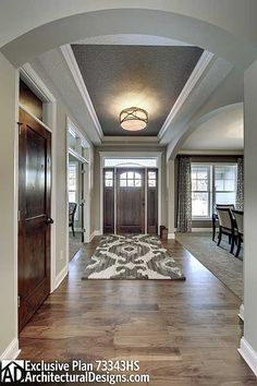 Foyer but with double French doors... Love the darker ceiling color