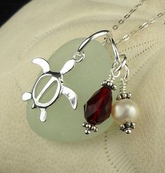 lSea Glass Jewelry Turtle Necklace With Pearl by seaglassgems4you, $32.00