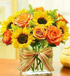 Autumn Orange Roses & Sunshine Yellow Sunflowers