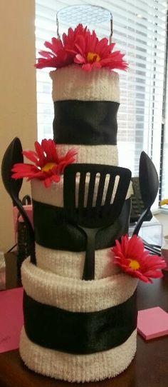 Towel cake for wedding shower gift