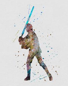Luke Skywalker Star Wars Watercolor Art
