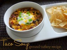 Taco Soup Ground Turkey: Good weeknight crock pot recipe with canned ingred...