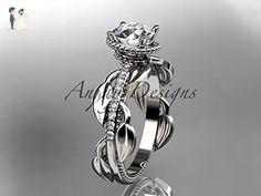 Unique Platinum diamond leaf and vine diamond engagement ring ADLR231 - Wedding and engagement rings (*Amazon Partner-Link)