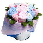 Blumenkübel Candy, Babykleider Geschenk-Set Zwillinge von The Flower Stork
