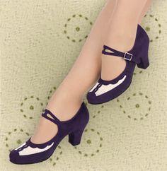 Aris Allen Indigo and Ivory 1940s Velvet and Mesh Mary Jane Swing Dance Shoe