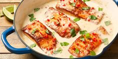 Creamy Coconut Lime Salmon: This creamy salmon skillet dinner is rich, without being too decadent. The combo of ginger, fresh lime juice, and basil brightens everything up. Fish Dishes, Seafood Dishes, Fish And Seafood, Seafood Recipes, Paleo Recipes, Cooking Recipes, Cooking Fish, Lime Salmon Recipes, Thai Salmon Recipe