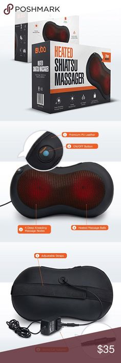 Heated Back Neck Massager Brand New in Box  ERGONOMICALLY REDESIGNED - Ergonomic U-design back massager fits perfectly against the contoured shape of your neck, lower & upper back, abdomen, calf, and thigh areas.   HOT STONE MASSAGE - Advanced heating function with smart circuit over heat protection soothes aching muscles and can be turned ON & OFF with ease.  PORTABLE SHIATSU MASSAGER – Easy to carry and use in the car, office, and home. Includes a FREE car adapter.  AUTOMATIC ONE MINUTE…