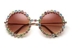 Jenny Pastel Rhinestone Round Sunglasses Multi/Gold by 80sPurple, $38.00