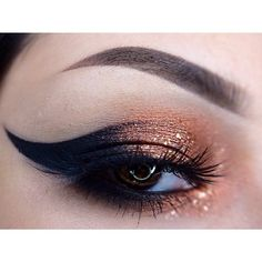 Copper and black eyeshadow. Wow, dramatic 'night out' look Try a high end, well known brand name of eyeshadow and get paid you give your opinion! joinbiometrixinc.com