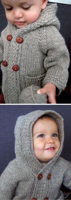 Knitting Pattern for Latte Baby Coat - Long sleeved cardigan with woven basket stitch band, optional hood, and optional pockets. Sizes 0-3mo (3-6mo, 6-12mo, 12-18mo, 2T-3T, 3T-4T). Bulky yarn. Designed by Lisa Chemery