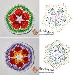 Crochet African Flowers 5 & 6 - Chart ❥ 4U hilariafina  http://www.pinterest.com/hilariafina/