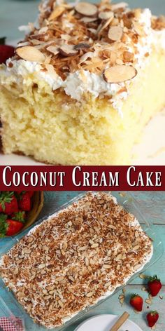 This is the best Coconut Cream Cake that I have ever tasted! It is super moist and incredibly delicious. Perfect for birthdays, holidays and potlucks. We just can't get enough of this easy dessert! #EasterSweetsWeek #ad #cake #coconut #desserts