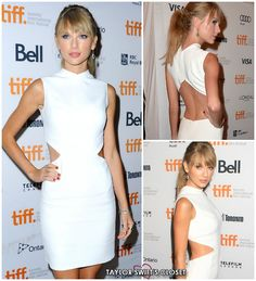 Taylor attended the Toronto International Film Festival last night looking white hot in a cutout mini-dress from Calvin Klein's 2014 Resort collection. This dress in particular has not been released into the runway show. Gorgeous!  Calvin Klein Resort 2014 Dress  Giuseppe Zanotti Sandals