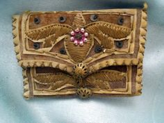 ANTIQUE FRENCH  PURSE BOURSE  EMBROIDERY VELVET AND LINEN 17TH-CENTURY