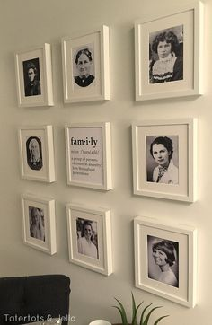 Family Generation Gallery Wall and Printables. Wouldn't it be cool to blow up the pictures of your ancestors and really showing them off in a gallery wall? Always remember your heritage and the strong family member you came from.