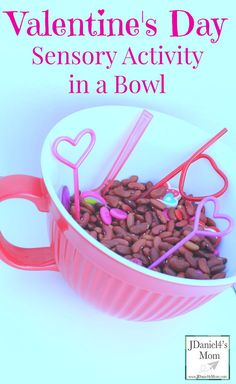 Valentines Day Sensory Activity in Bowl- This is an invitation to explore a number of skill including fine motors skills and eye and hand coordination.