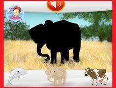 *▶ Zoek de goede schaduw van de dieren met kleuters op digibord of computer op kleuteridee.nl Elmer The Elephants, Safari, Wildlife, School, Projects, Spanish, Mini, Videos, Animals