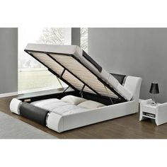 Wade Logan Mallory Upholstered Platform Bed & Reviews | Wayfair Storage Bed Queen, Bed Storage, Fabric Storage, Extra Storage, Platform Bed Frame, Upholstered Platform Bed, California King Mattress, Panel Bed, Cool Beds
