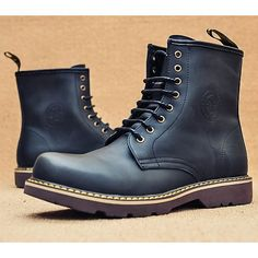Classic Black Leather Lace Up Dress Dr. Martens Boots for Men SKU-1100085