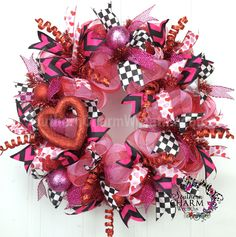 Deco Mesh Valentine's Day Wreath For Door or Wall Heart Red Hot Pink White Black Check Deco Mesh Ribbon, Deco Mesh Wreaths, Door Wreaths, Valentine Day Wreaths, Valentine Crafts, Valentines, Holiday Wreaths, Holiday Ideas, Wreaths For Sale