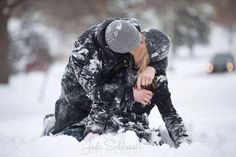 Playing in the snow, engagement photos :)