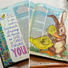 Tiffany's Garden Paper Crafts, Digital Stamps, Hand Made Cards, Country Living: Ephesians 4:32 Be Kind to One Another - Colored Pencil Bunny & Ducky