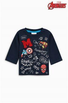 Buy Navy Long Sleeve Marvel Superheros Top from the Next UK online shop Baby Superhero, Cartoon T Shirts, Cheap Clothes, Boys T Shirts, Kids Outfits, Graphic Sweatshirt, Marvel, Sweatshirts, Long Sleeve