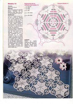 Home Decor Crochet Patterns Part 66 - Beautiful Crochet Patterns and Knitting Patterns Crochet Doily Diagram, Crochet Lace Edging, Crochet Motifs, Crochet Chart, Crochet Squares, Thread Crochet, Crochet Doilies, Crochet Flowers, Crochet Stitches