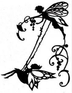 Handmade Fairy on Swing Silhouette PDF Cross Stitch Pattern: