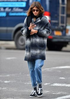 Alexa Chung swamps her lithe frame in an oversized checked coat and baggy boyfriend jeans as she runs errands in NYC Tokyo Fashion, Runway Fashion, Alexa Chung Style, Adidas Nmd_r1, Adidas Women, Adidas Shoes, Look Fashion, Winter Fashion, Fashion Outfits