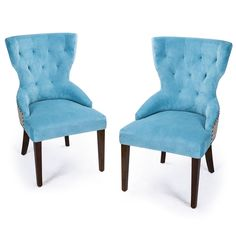 Blue Velvet European Style Armless Living Room Side Chair / Dining Chair with Birch Legs with Floral Pattern on the Back (Set of 2)