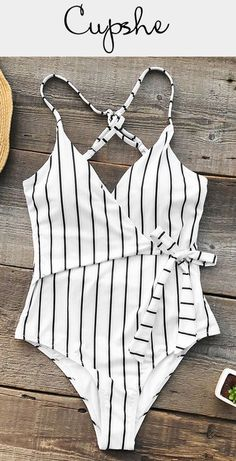This one-piece features unique tie at waist and cross at back. Send out your glamour from poolside to the beach! Lingerie, Hippie Stil, Striped One Piece, Striped Style, Stripped One Piece Swimsuit, Striped Swimsuit, Black Swimsuit, Cute Bathing Suits, Cute Swimsuits