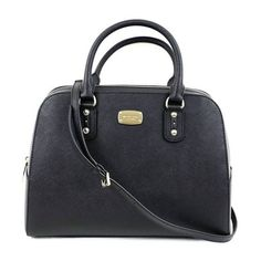 Nwt Michael Kors Black Saffiano Leather Large Satchel Bag (€190) ❤ liked on Polyvore featuring bags, handbags, saffiano leather bag, satchel handbags, saffiano leather purse, satchel bag and saffiano leather satchel