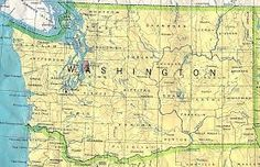 Map of State of Washington Including of Puget Sound.