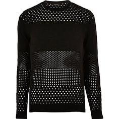 Black mesh knit jumper $60.00