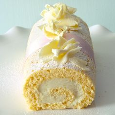 Lime and coconut cream Swiss roll. Indulge in this decadent white-chocolate-dessert.