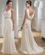 Sexy V-Ausschnitt griechischen Strand Chiffon Sommer Brautkleider granceful Perlen Gürtel Brautkleider Backless vintage robe De Mariage(China (Mainland))