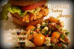 Buffalo Turkey Burgers and Roasted Southwestern Potato Salad: I'm taking the flavor inspirations of buffalo hot wings to the grill today with a spicy turkey burger stuffed with celery and carrots. This is perfect paired with my southwestern inspired potato salad that begins with roasted red potatoes and chile peppers, tossed in a light vinaigrette dressing.