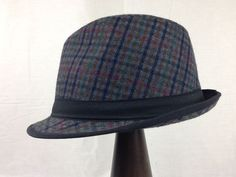 New Gray Plaid Fedora Trilby with Black Band Wool Blend #Unbranded #FedoraTrilby