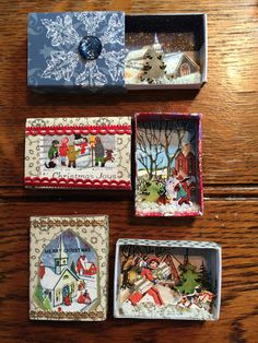 Christmas Matchbox Scenes made by Jane Corbett Christmas Scenes, Christmas Art, Handmade Christmas, Vintage Christmas, Christmas Decorations, Christmas Ornaments, Matchbox Crafts, Matchbox Art, Ornament Crafts
