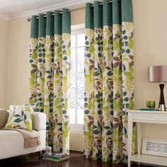 Teal Jakarta Lined Eyelet Curtains