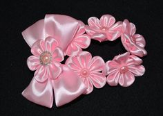 Handmade Girl's Pink Flower Bun Wrap/Top Knot by PrettyBlossomBows