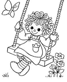 Cute Girl on a Swing coloring page for kids, seasons