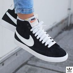uk availability 90510 a33e4 Nike Black Perforated Suede Blazer Sneakers The Nike Blazer Mid Suede  Vintage Womens Shoe is a
