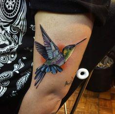 Hyperrealism Hummingbird Tattoo by Alex Bruz