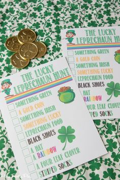 Love these leprechaun scavenger hunt ideas from playpartypin.com! Send kids or adults on a hunt to find things that a leprechaun left behind and first one to find all items on the list wins a St. Patrick's Day surprise!