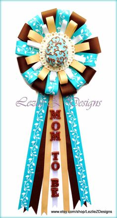 Pascua Easter Egg Theme Baby Shower Corsage - Mom/Dad/Grandma to Be Cold Porcelain Favor - Turquoise Brown Ribbon Baby Boy Capia Mum  by LezlieZDesigns