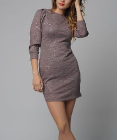Pink Sequin Puff-Sleeve Sheath Dress | Daily deals for moms, babies and kids